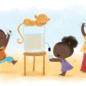 artwork of children getting water