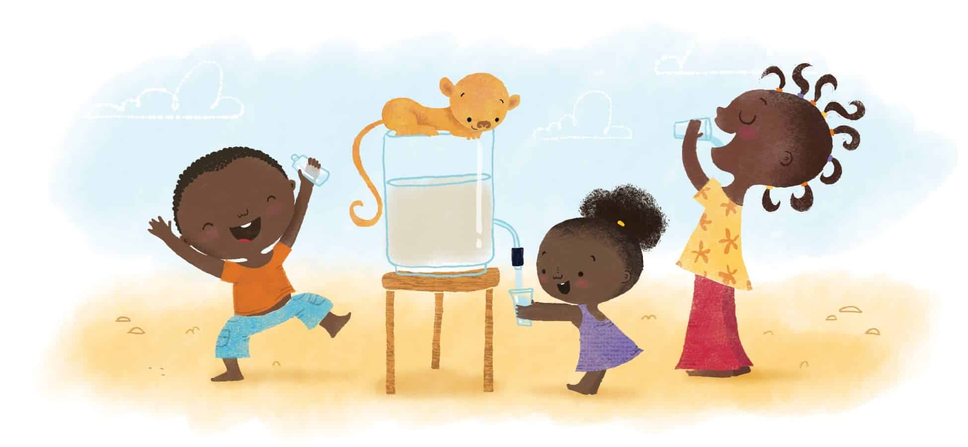 artwork of children getting water