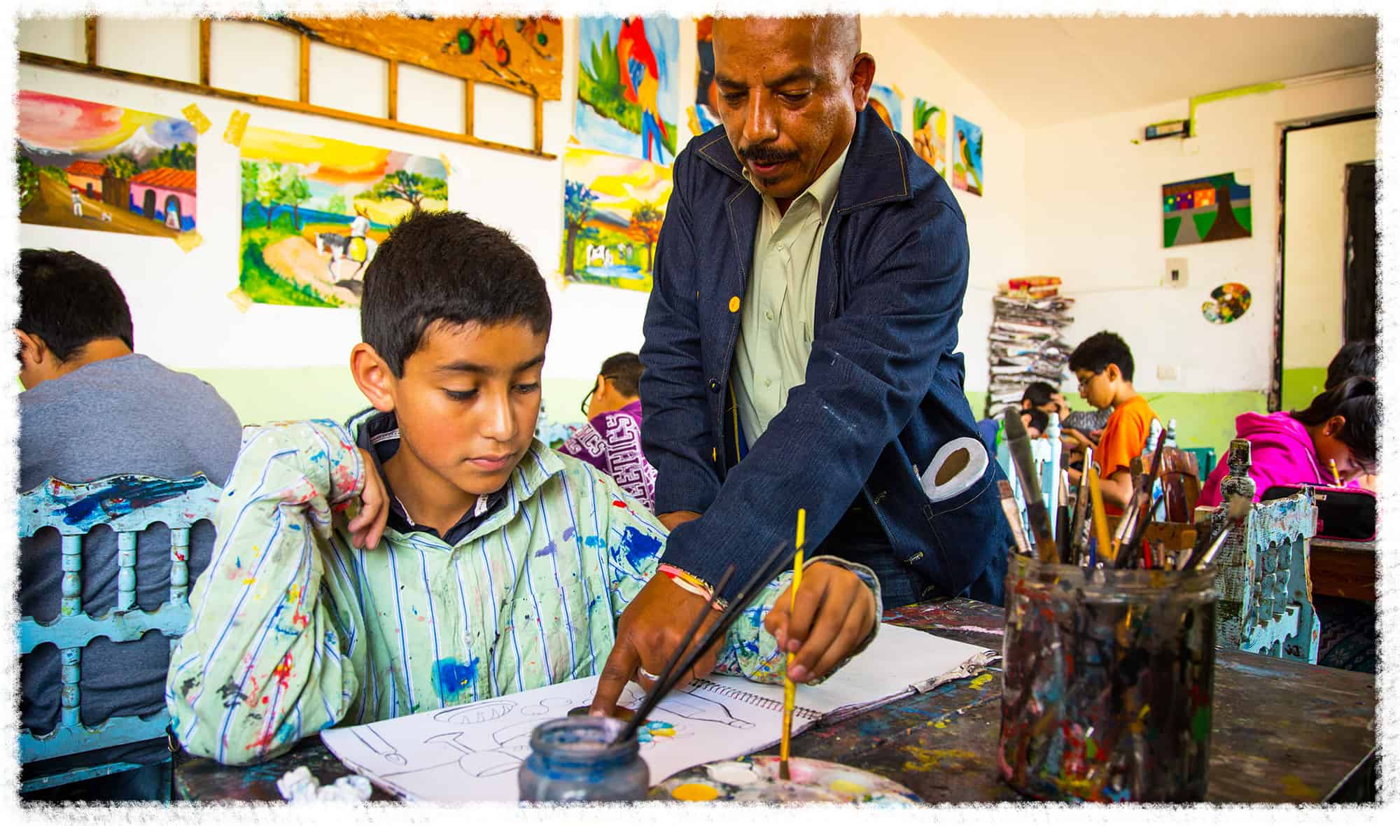 10-year-old-Hector learns about art at his school in MExico.